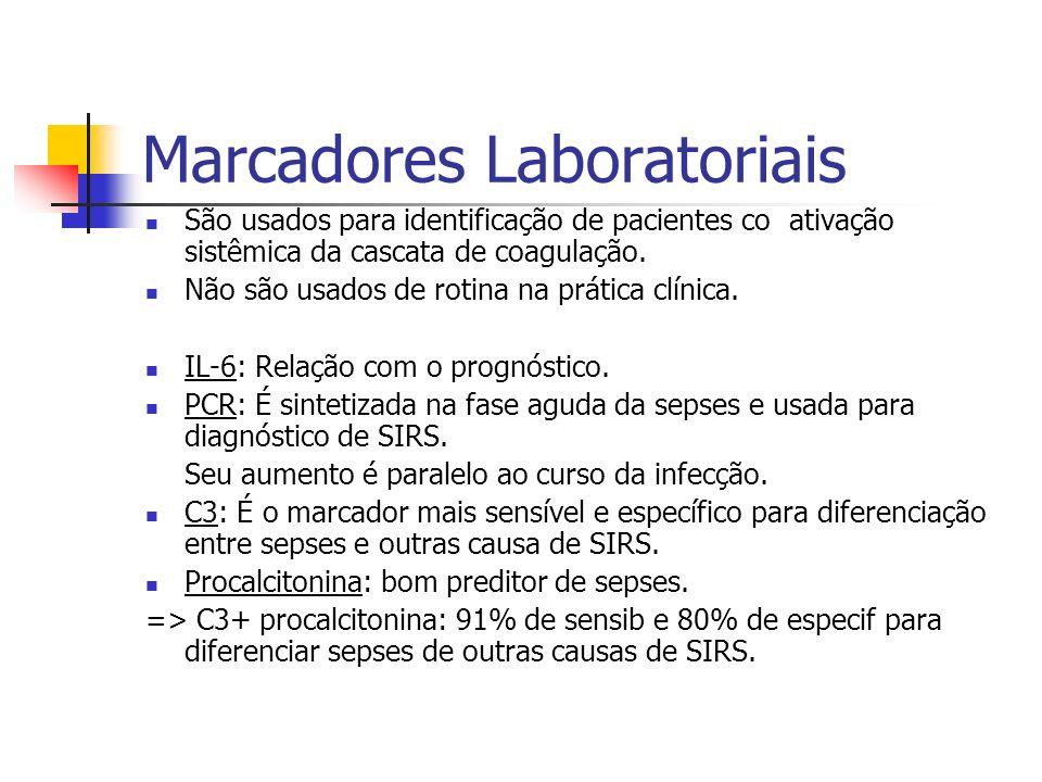 Marcadores Laboratoriais São usados para identificação de pacientes co ativação sistêmica da cascata de coagulação. Não são usados de rotina na prátic