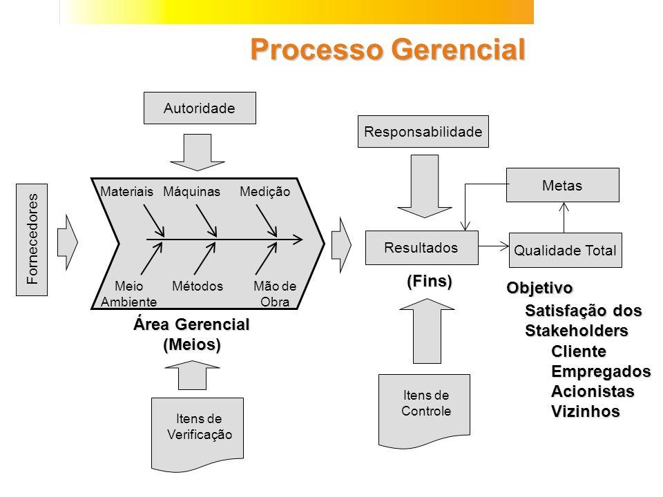 Processo Gerencial Resultados MateriaisMáquinasMedição Meio Ambiente MétodosMão de Obra Fornecedores Autoridade Responsabilidade Metas Itens de Verifi
