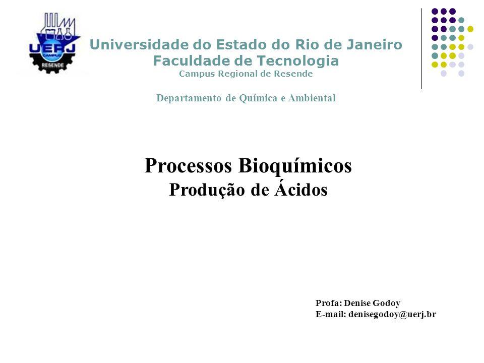 Processos Bioquímicos Produção de Ácidos Profa: Denise Godoy E-mail: denisegodoy@uerj.br Universidade do Estado do Rio de Janeiro Faculdade de Tecnolo