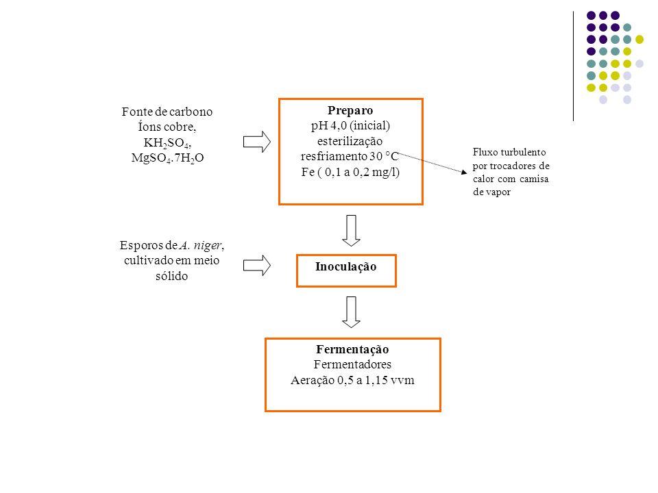 Preparo pH 4,0 (inicial) esterilização resfriamento 30 C Fe ( 0,1 a 0,2 mg/l) Fonte de carbono Íons cobre, KH 2 SO 4, MgSO 4.7H 2 O Inoculação Ferment