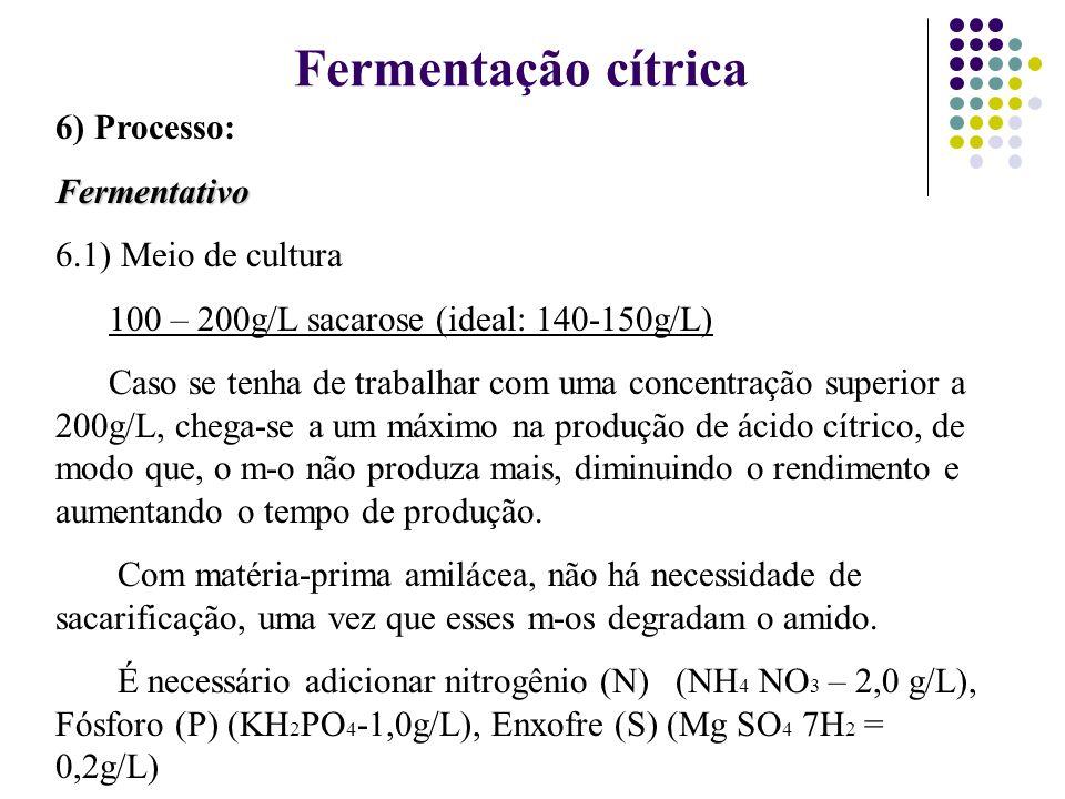 6) Processo:Fermentativo 6.1) Meio de cultura 100 – 200g/L sacarose (ideal: 140-150g/L) Caso se tenha de trabalhar com uma concentração superior a 200