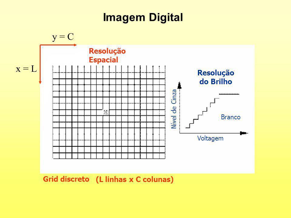 Imagem Digital Resolução Espacial Resolução do Brilho Grid discreto (L linhas x C colunas) Voltagem Nível de Cinza Branco x = L y = C
