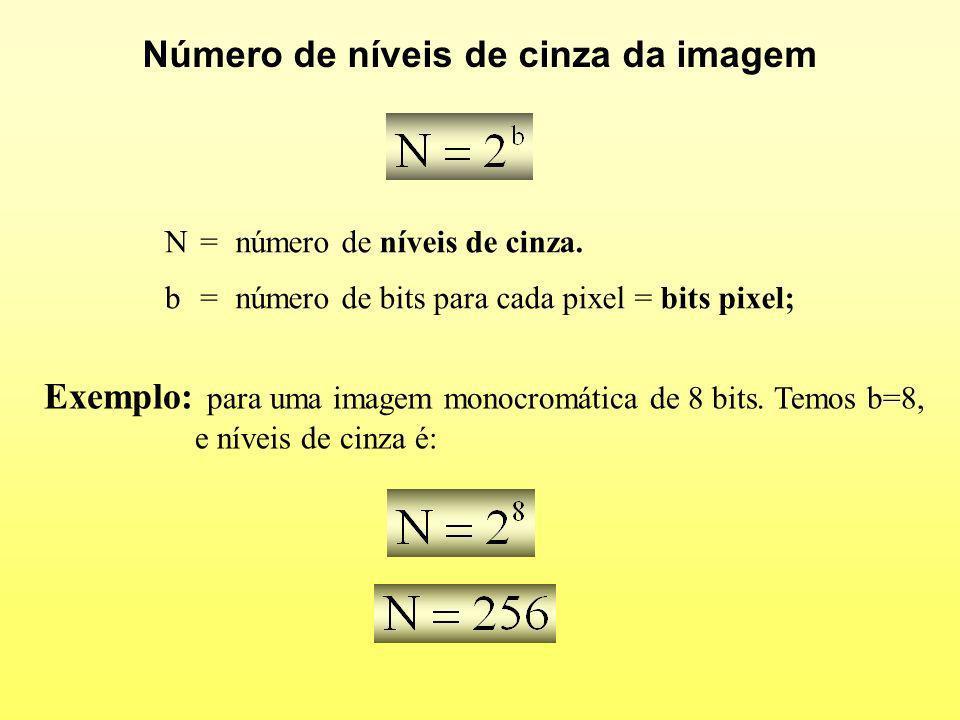 Número de níveis de cinza da imagem N=número de níveis de cinza. b=número de bits para cada pixel = bits pixel; Exemplo: para uma imagem monocromática