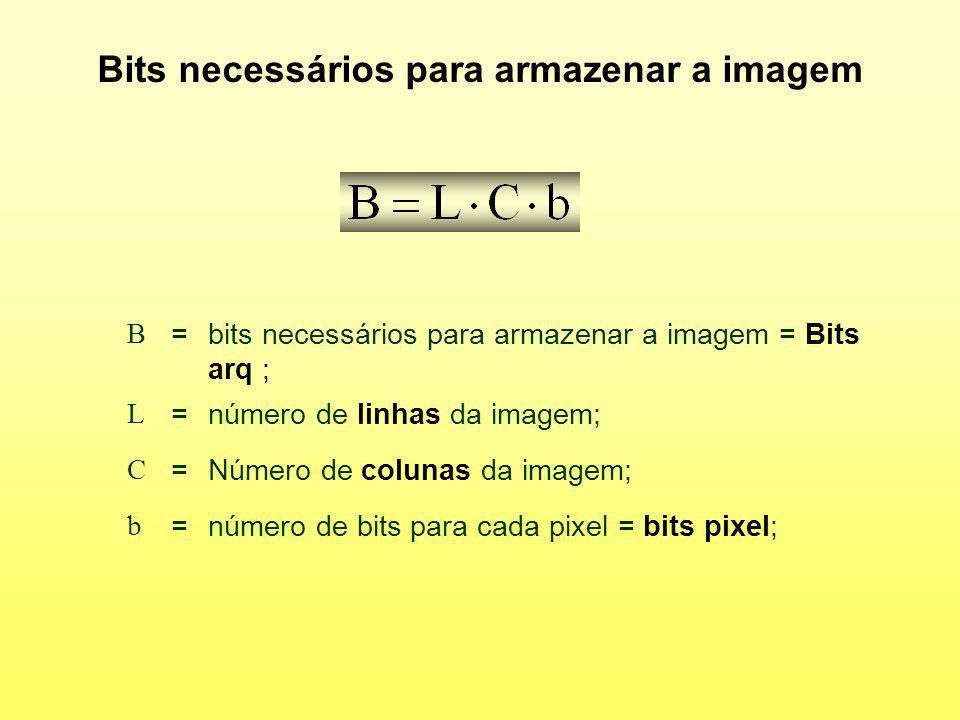 Bits necessários para armazenar a imagem B =bits necessários para armazenar a imagem = Bits arq ; L =número de linhas da imagem; C =Número de colunas