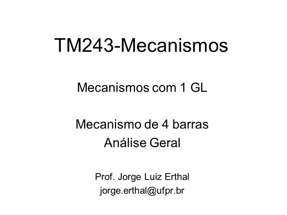 TM243-Mecanismos Mecanismos com 1 GL Mecanismo de 4 barras Análise Geral Prof. Jorge Luiz Erthal jorge.erthal@ufpr.br