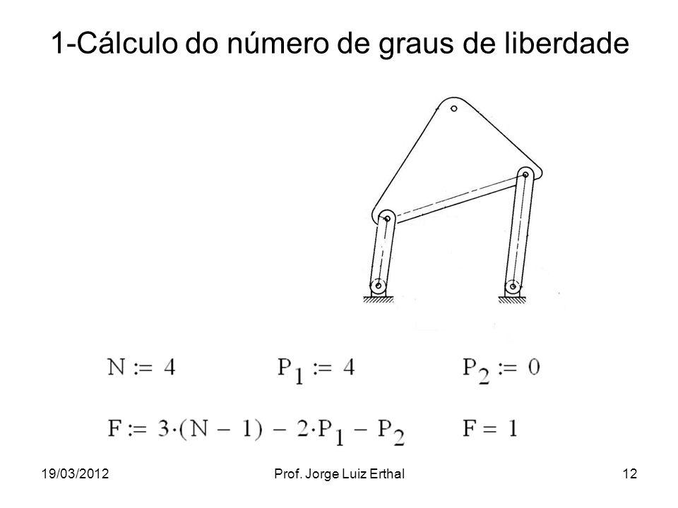 19/03/2012Prof. Jorge Luiz Erthal12 1-Cálculo do número de graus de liberdade