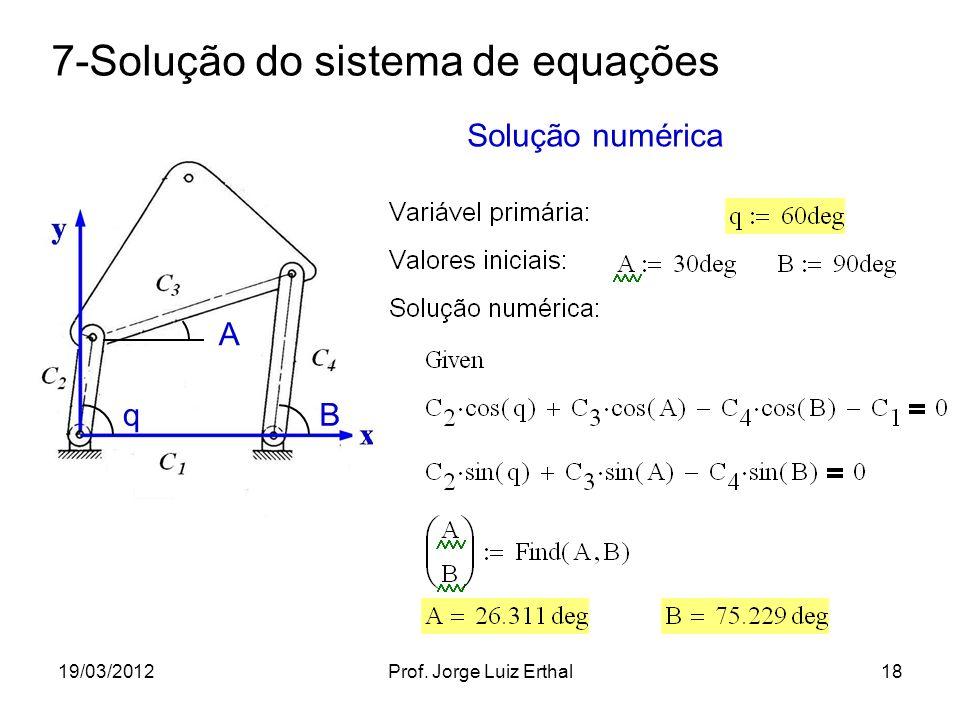19/03/2012Prof. Jorge Luiz Erthal18 7-Solução do sistema de equações q A B Solução numérica