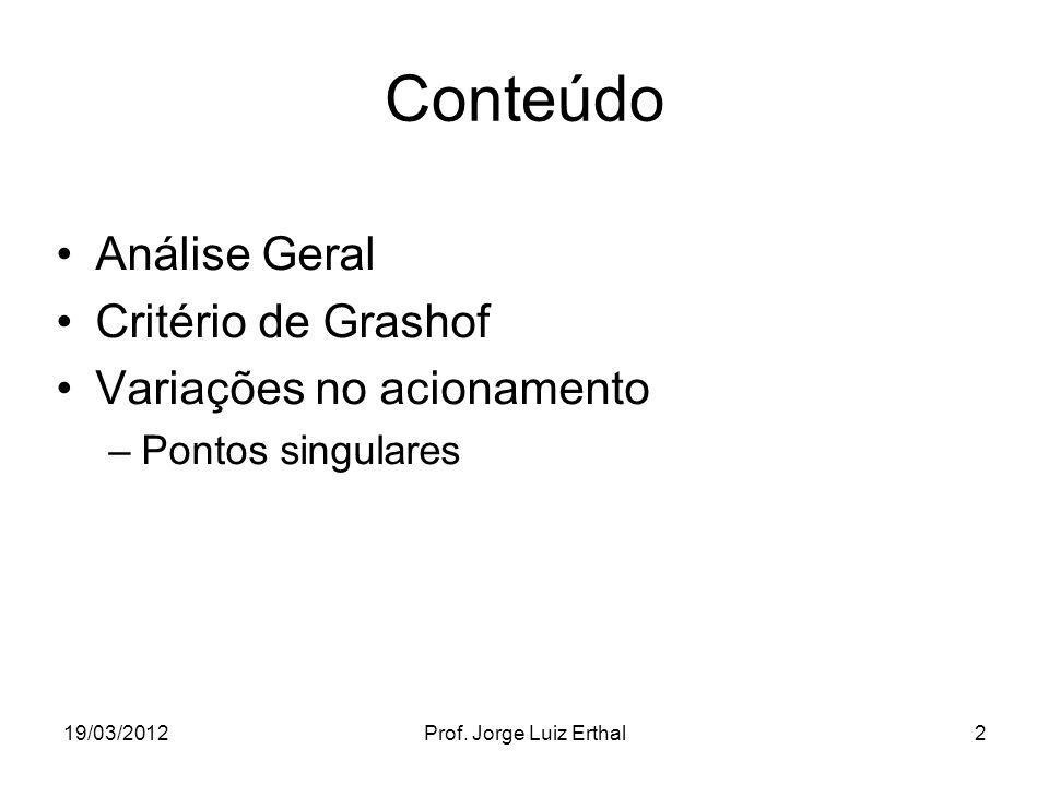 19/03/2012Prof. Jorge Luiz Erthal2 Conteúdo Análise Geral Critério de Grashof Variações no acionamento –Pontos singulares