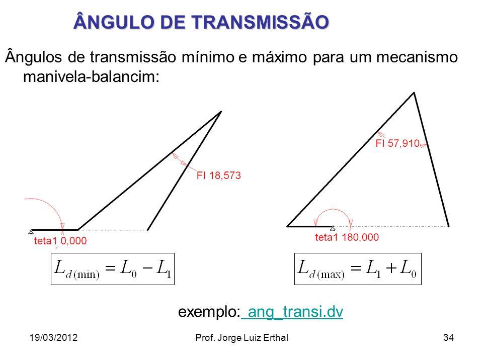 19/03/2012Prof. Jorge Luiz Erthal34 ÂNGULO DE TRANSMISSÃO Ângulos de transmissão mínimo e máximo para um mecanismo manivela-balancim: exemplo: ang_tra