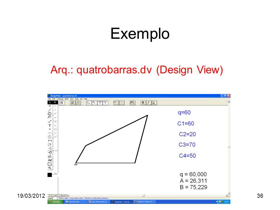 19/03/2012Prof. Jorge Luiz Erthal36 Exemplo Arq.: quatrobarras.dv (Design View)
