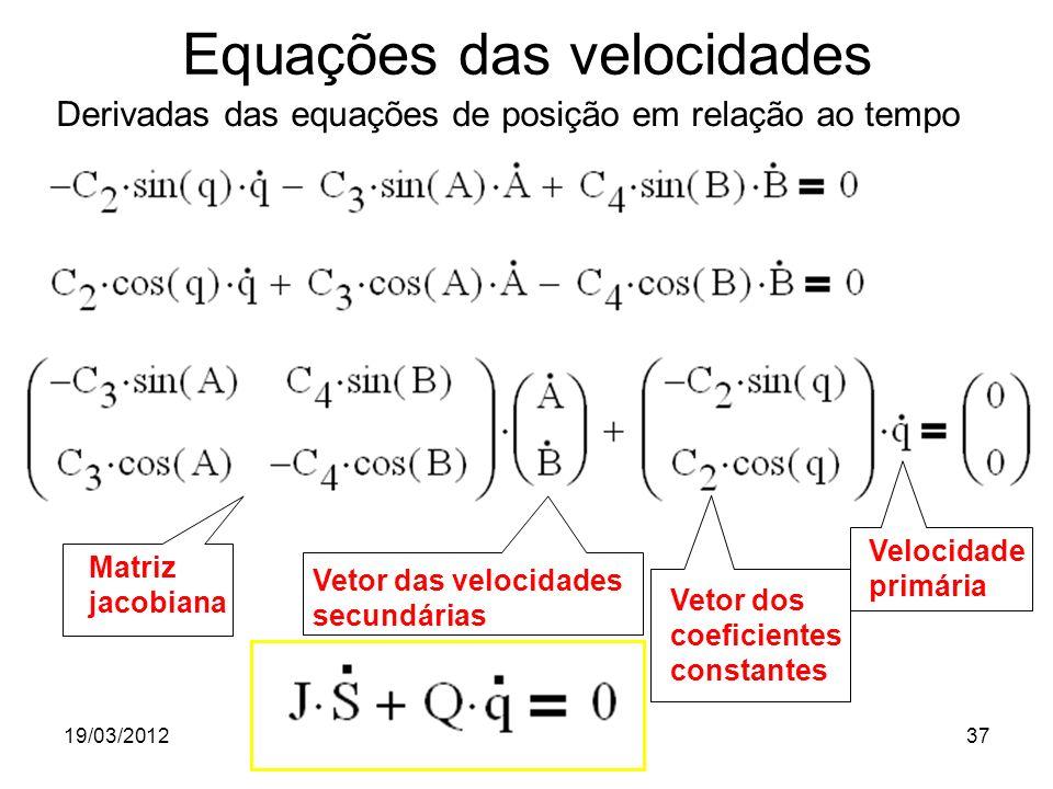 19/03/2012Prof. Jorge Luiz Erthal37 Matriz jacobiana Vetor das velocidades secundárias Vetor dos coeficientes constantes Velocidade primária Equações