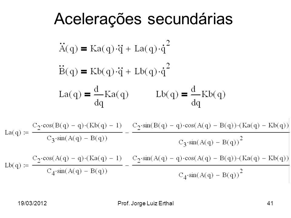 19/03/2012Prof. Jorge Luiz Erthal41 Acelerações secundárias