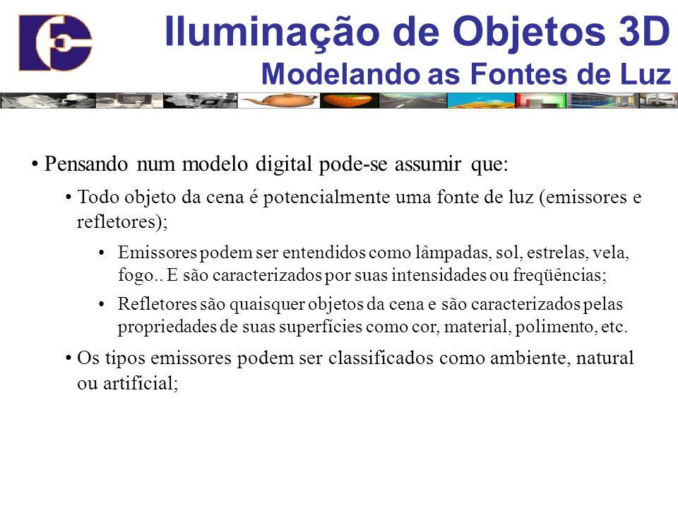 Iluminação de Objetos 3D Modelando as Fontes de Luz Pensando num modelo digital pode-se assumir que: Todo objeto da cena é potencialmente uma fonte de