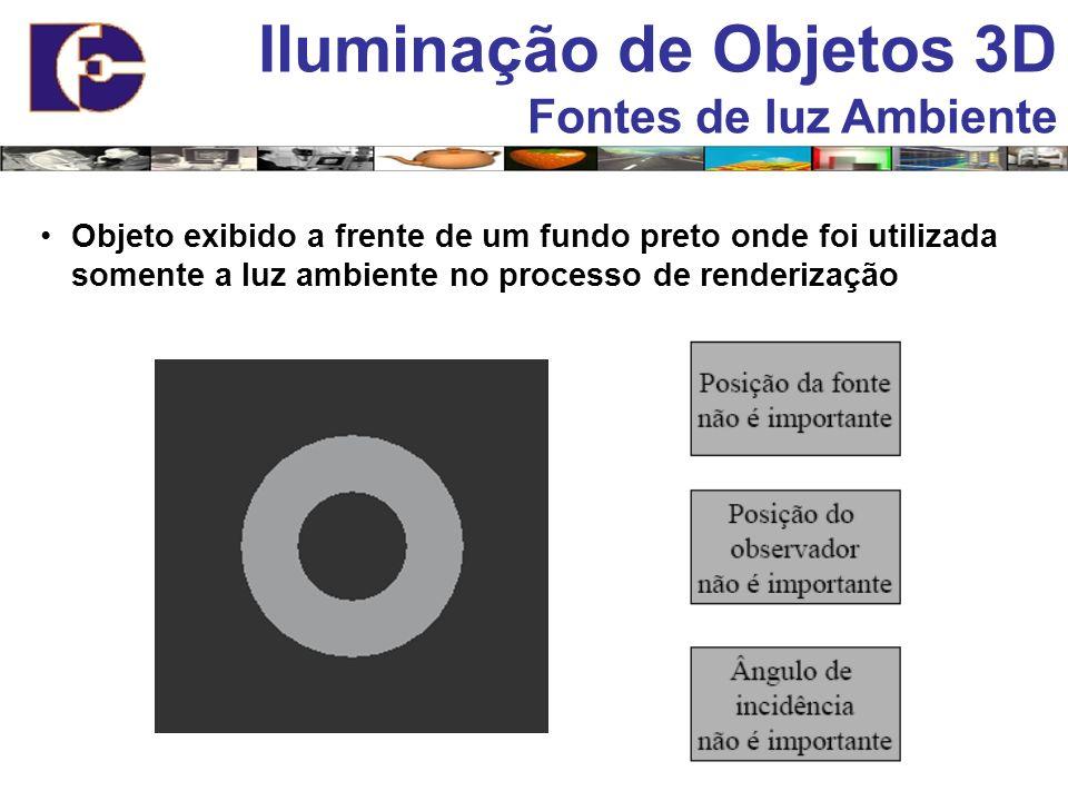 Iluminação de Objetos 3D Fontes de luz Ambiente Objeto exibido a frente de um fundo preto onde foi utilizada somente a luz ambiente no processo de ren