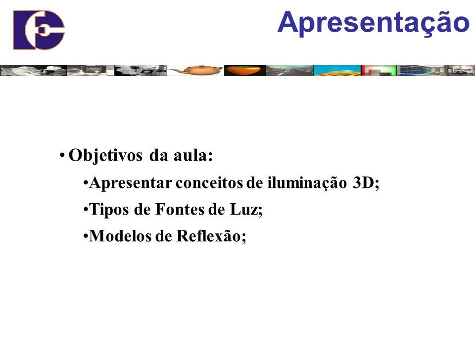 Apresentação Objetivos da aula: Apresentar conceitos de iluminação 3D; Tipos de Fontes de Luz; Modelos de Reflexão;