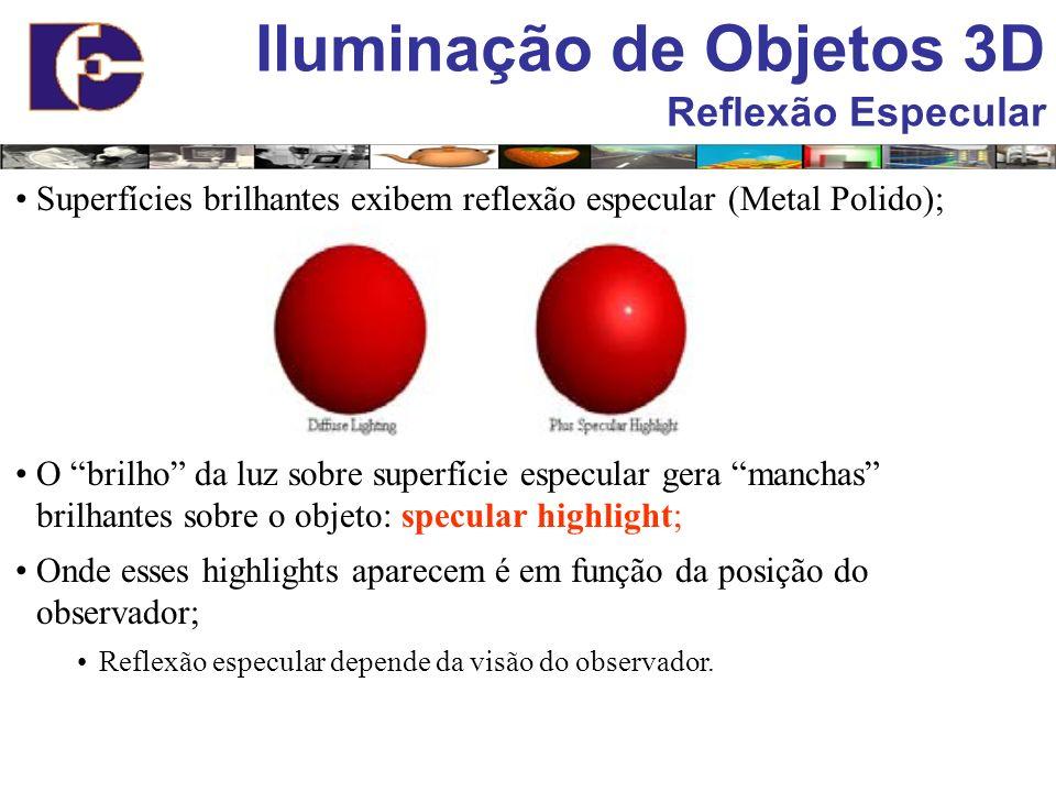 Superfícies brilhantes exibem reflexão especular (Metal Polido); O brilho da luz sobre superfície especular gera manchas brilhantes sobre o objeto: sp