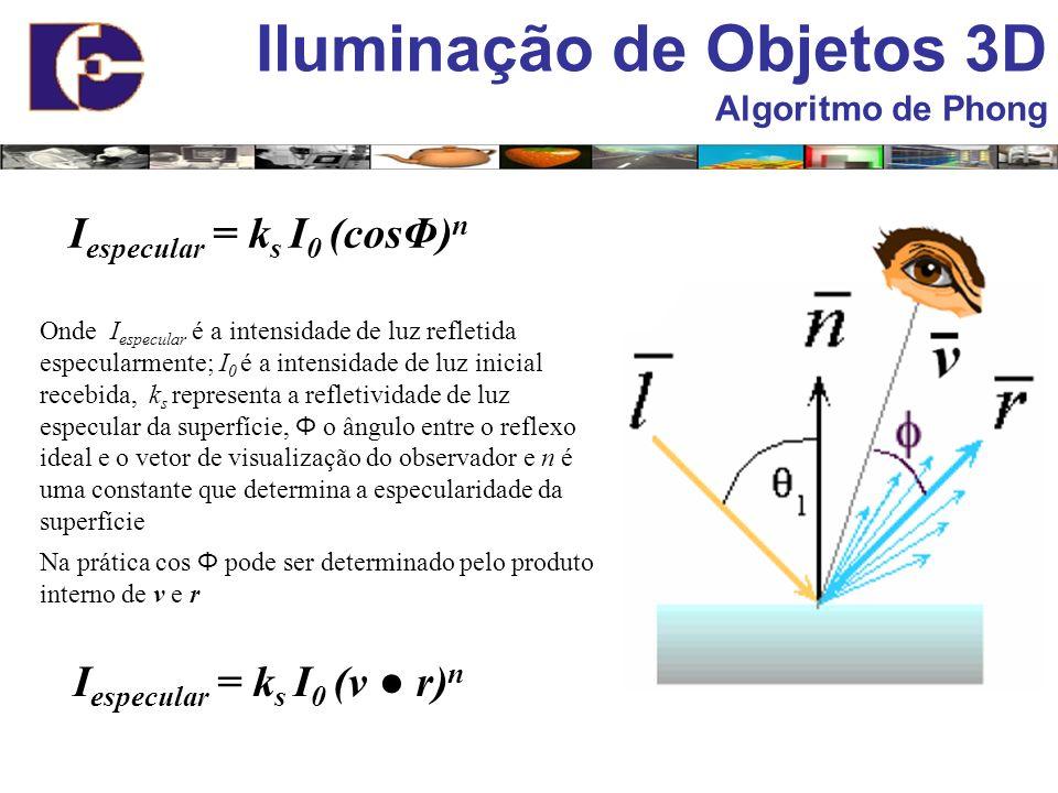 Iluminação de Objetos 3D Algoritmo de Phong I especular = k s I 0 (cosΦ) n Onde I especular é a intensidade de luz refletida especularmente; I 0 é a i