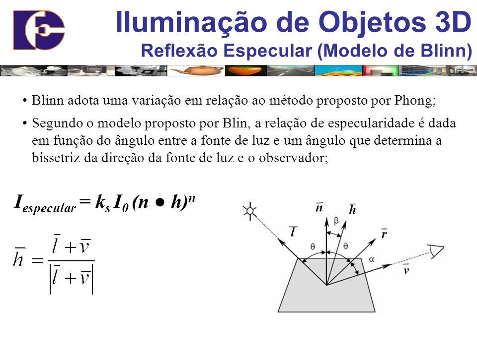 Iluminação de Objetos 3D Reflexão Especular (Modelo de Blinn) Blinn adota uma variação em relação ao método proposto por Phong; Segundo o modelo propo