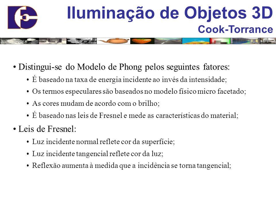 Iluminação de Objetos 3D Cook-Torrance Distingui-se do Modelo de Phong pelos seguintes fatores: É baseado na taxa de energia incidente ao invés da int