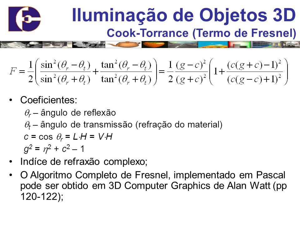 Iluminação de Objetos 3D Cook-Torrance (Termo de Fresnel) Coeficientes: r – ângulo de reflexão t – ângulo de transmissão (refração do material) c = co