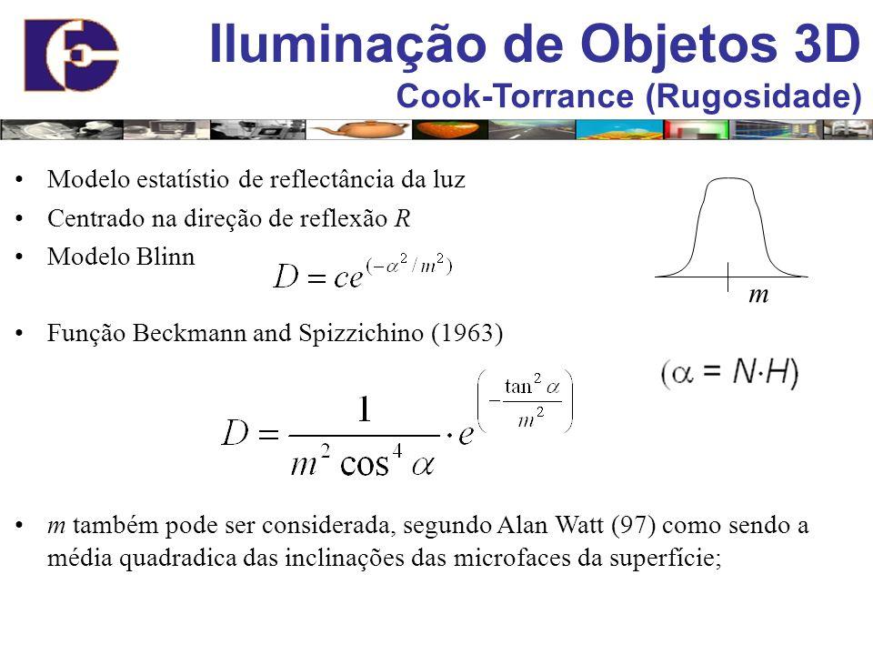 Iluminação de Objetos 3D Cook-Torrance (Rugosidade) Modelo estatístio de reflectância da luz Centrado na direção de reflexão R Modelo Blinn Função Bec