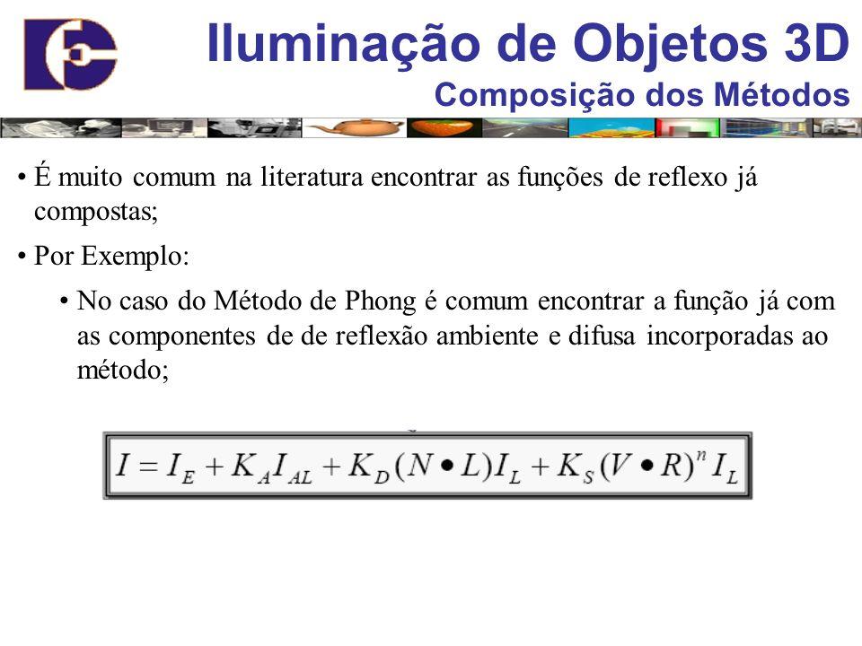 Iluminação de Objetos 3D Composição dos Métodos É muito comum na literatura encontrar as funções de reflexo já compostas; Por Exemplo: No caso do Méto