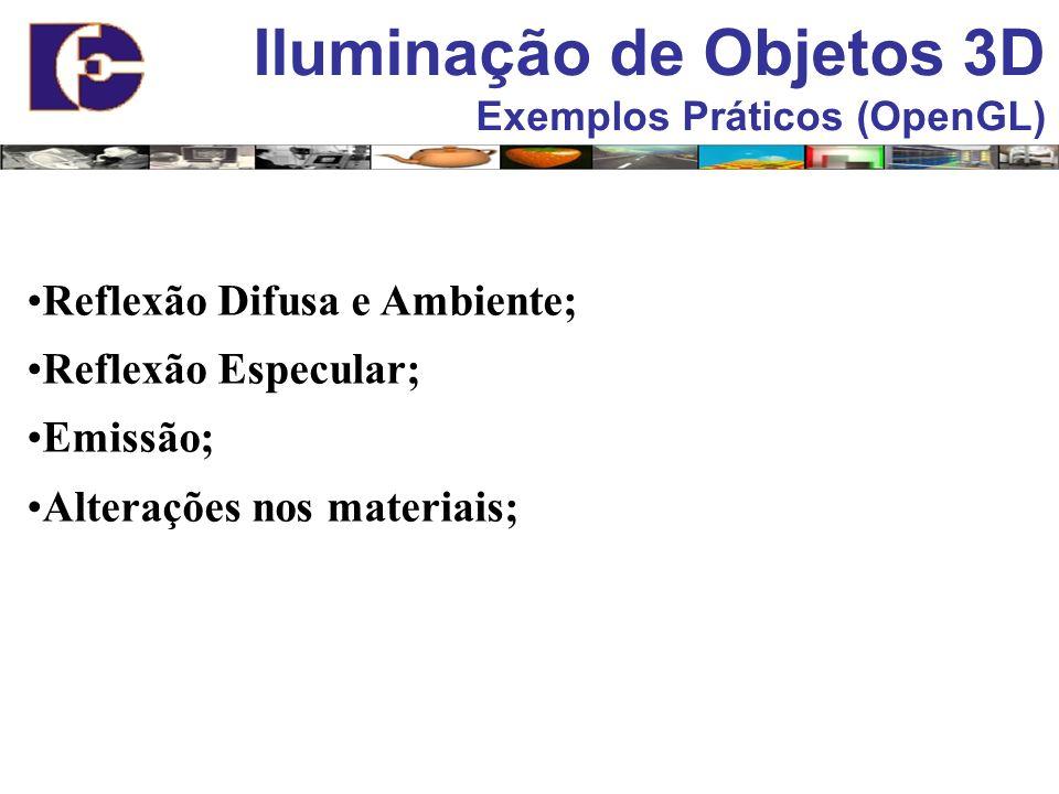 Iluminação de Objetos 3D Exemplos Práticos (OpenGL) Reflexão Difusa e Ambiente; Reflexão Especular; Emissão; Alterações nos materiais;
