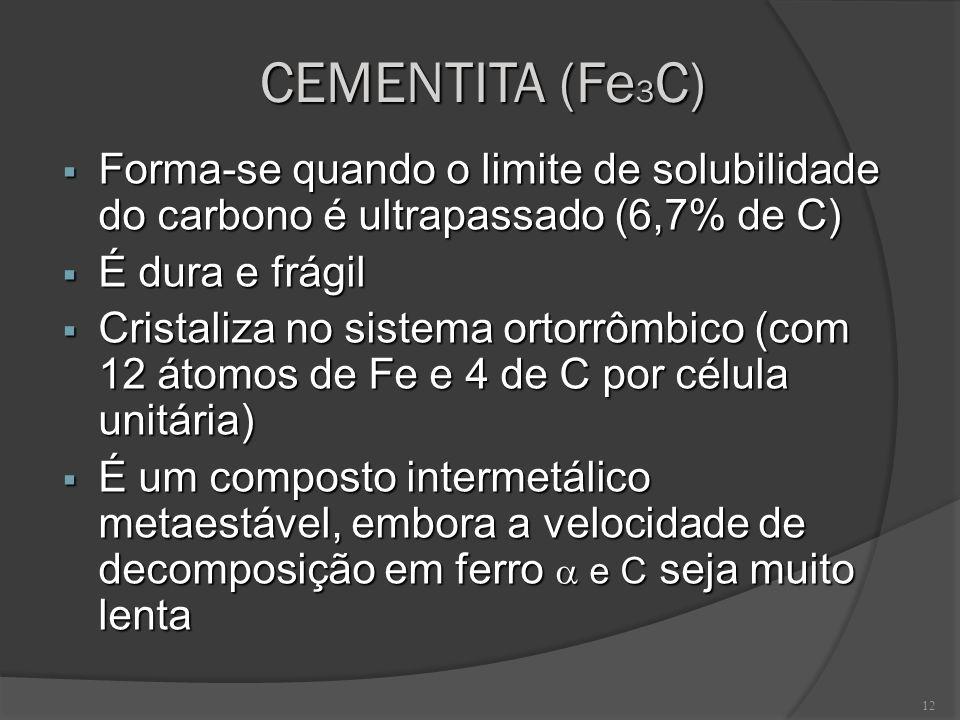 12 CEMENTITA (Fe 3 C) Forma-se quando o limite de solubilidade do carbono é ultrapassado (6,7% de C) Forma-se quando o limite de solubilidade do carbo