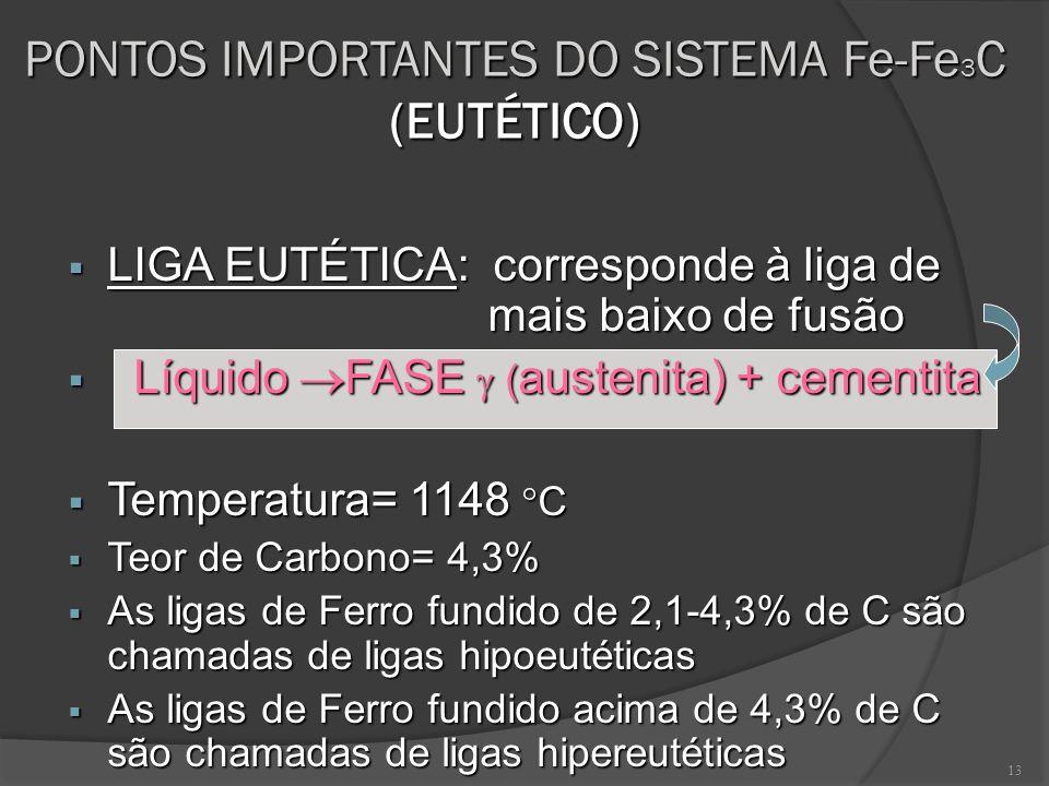 13 PONTOS IMPORTANTES DO SISTEMA Fe-Fe 3 C (EUTÉTICO) LIGA EUTÉTICA: corresponde à liga de mais baixo de fusão LIGA EUTÉTICA: corresponde à liga de ma