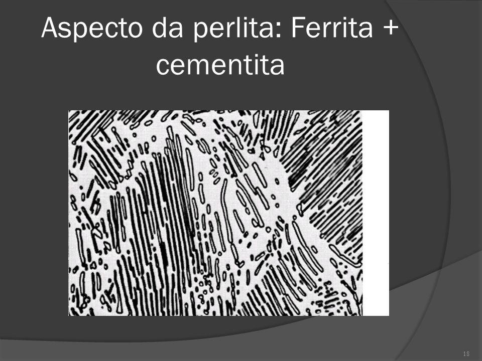 Aspecto da perlita: Ferrita + cementita 18