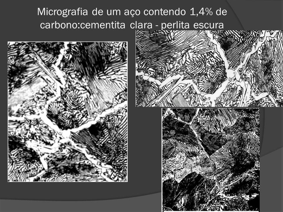 Micrografia de um aço contendo 1,4% de carbono:cementita clara - perlita escura
