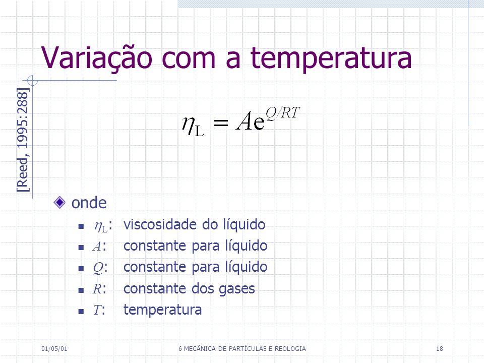 01/05/016 MECÂNICA DE PARTÍCULAS E REOLOGIA18 Variação com a temperatura [Reed, 1995:288] onde L : viscosidade do líquido A :constante para líquido Q