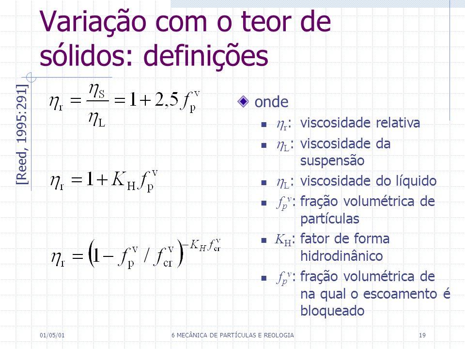 01/05/016 MECÂNICA DE PARTÍCULAS E REOLOGIA19 Variação com o teor de sólidos: definições [Reed, 1995:291] onde r :viscosidade relativa L :viscosidade