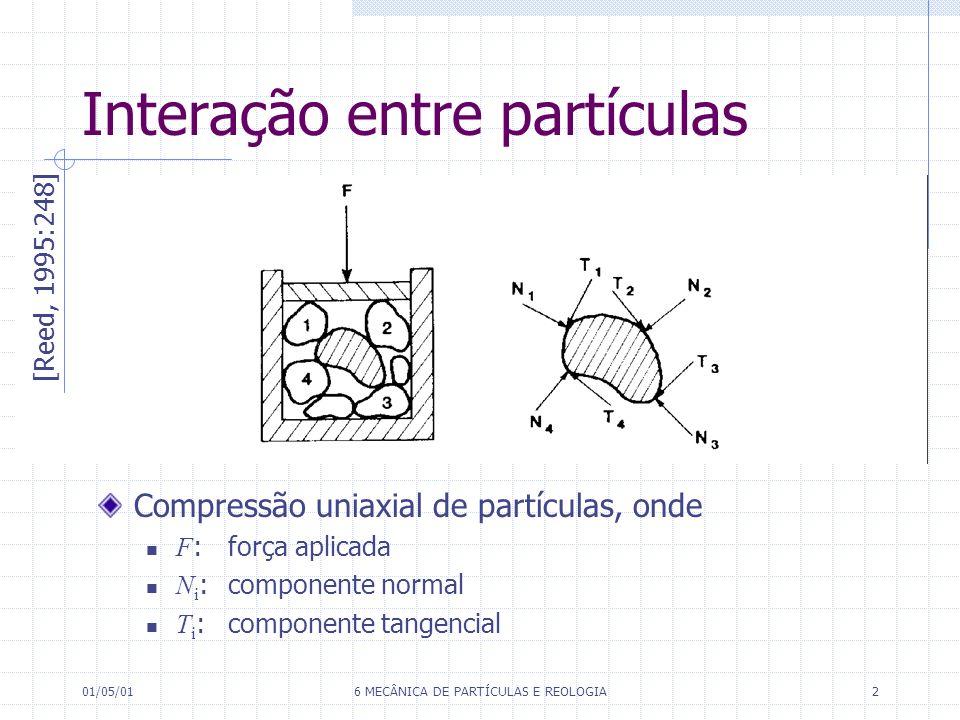 01/05/016 MECÂNICA DE PARTÍCULAS E REOLOGIA2 Interação entre partículas [Reed, 1995:248] Compressão uniaxial de partículas, onde F : força aplicada N