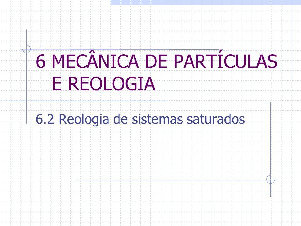 6 MECÂNICA DE PARTÍCULAS E REOLOGIA 6.2 Reologia de sistemas saturados