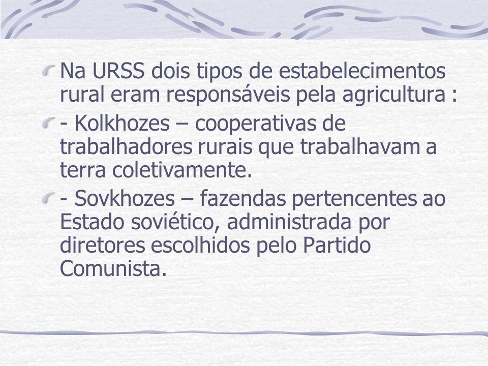 Na URSS dois tipos de estabelecimentos rural eram responsáveis pela agricultura : - Kolkhozes – cooperativas de trabalhadores rurais que trabalhavam a
