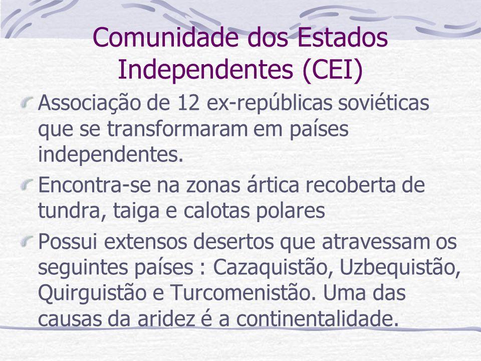 Comunidade dos Estados Independentes (CEI) Associação de 12 ex-repúblicas soviéticas que se transformaram em países independentes. Encontra-se na zona