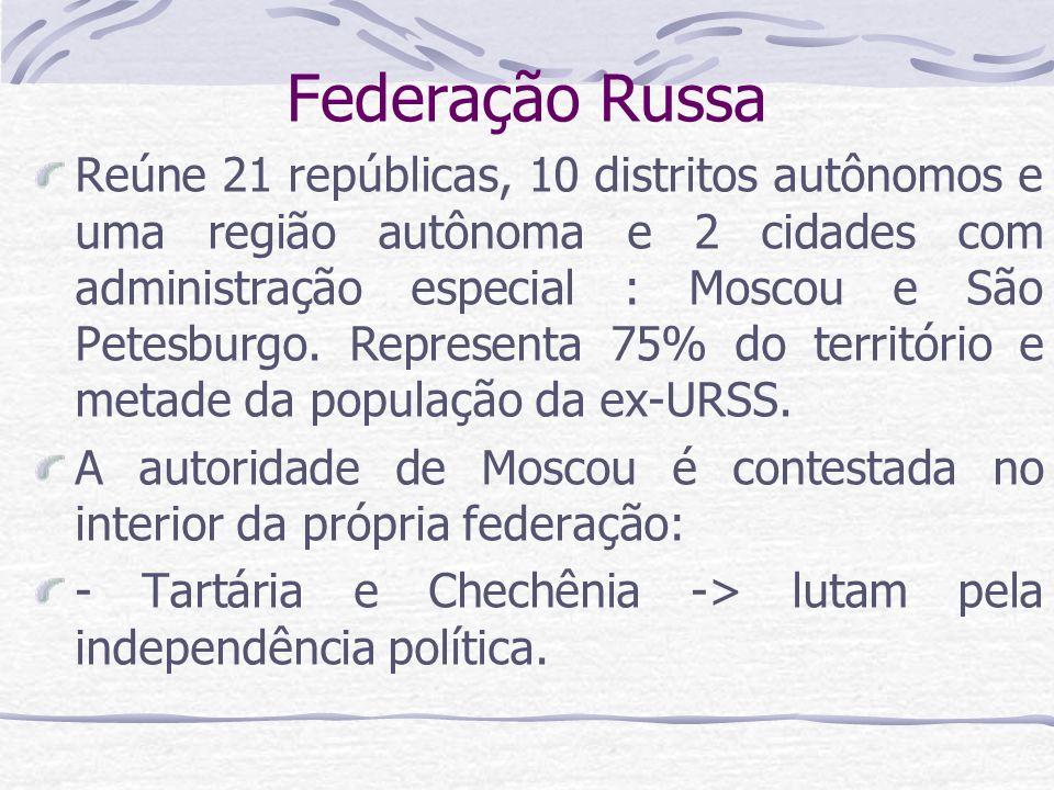 Federação Russa Reúne 21 repúblicas, 10 distritos autônomos e uma região autônoma e 2 cidades com administração especial : Moscou e São Petesburgo. Re