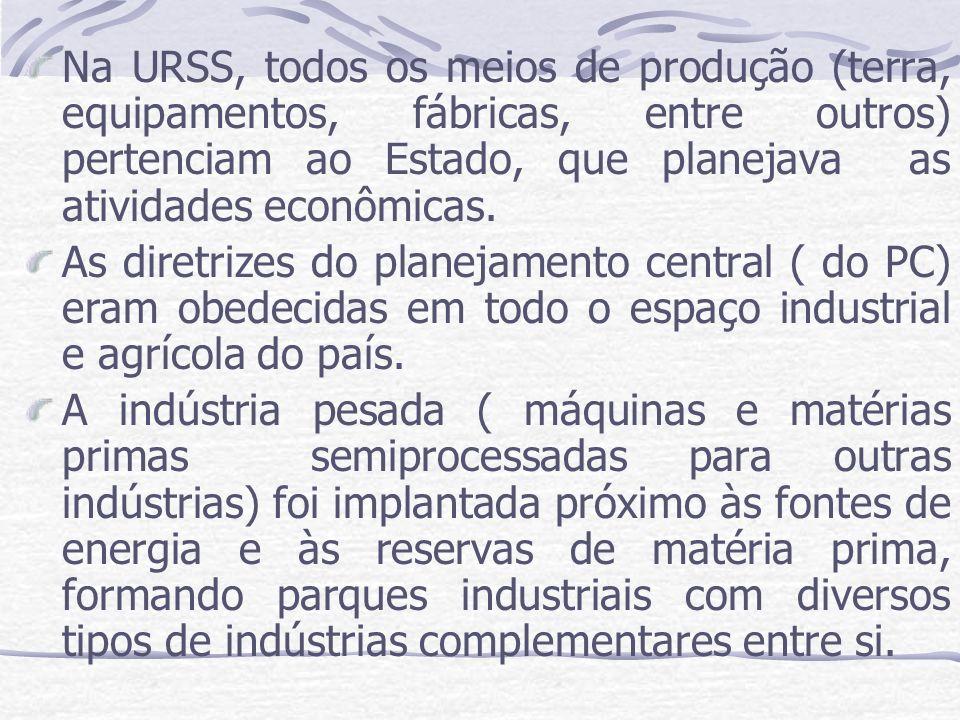 Na URSS, todos os meios de produção (terra, equipamentos, fábricas, entre outros) pertenciam ao Estado, que planejava as atividades econômicas. As dir