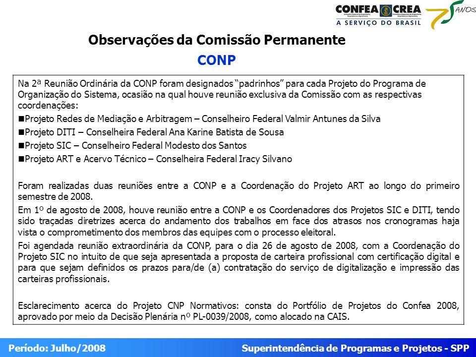 Superintendência de Programas e Projetos - SPP Período: Julho/2008 Na 2ª Reunião Ordinária da CONP foram designados padrinhos para cada Projeto do Pro