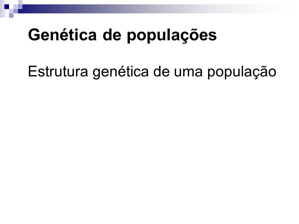 Genética de populações Estrutura genética de uma população Grupo de indivíduos de uma mesma espécie que podem entrecruzar.