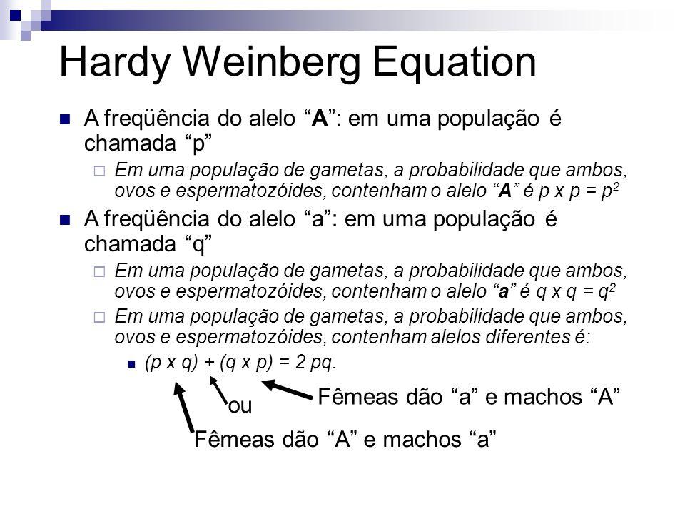 Hardy Weinberg Equation A freqüência do alelo A: em uma população é chamada p Em uma população de gametas, a probabilidade que ambos, ovos e espermato