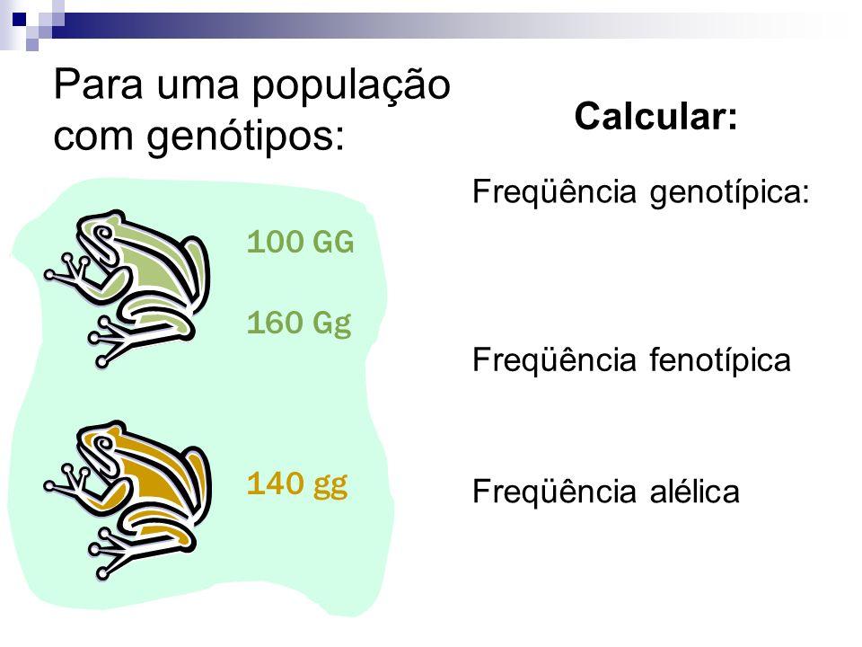 100 GG 160 Gg 140 gg Para uma população com genótipos: Calcular: Freqüência genotípica: Freqüência fenotípica Freqüência alélica