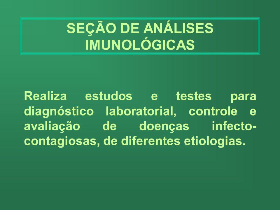 SETOR DE VIROLOGIA Realiza exames para diagnosticar as doenças causadas por vírus, servindo- se de técnicas que utilizam anticorpos circulantes e agen