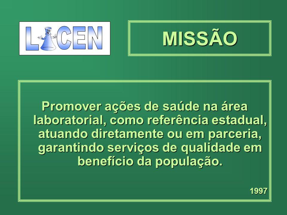 MISSÃO Promover ações de saúde na área laboratorial, como referência estadual, atuando diretamente ou em parceria, garantindo serviços de qualidade em benefício da população.