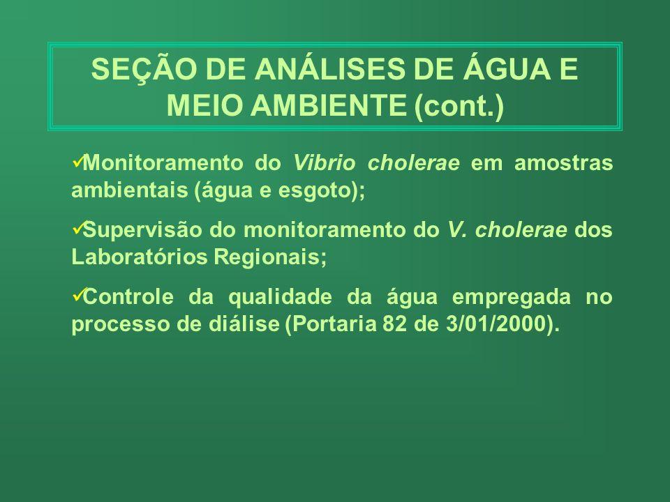 SEÇÃO DE ANÁLISES DE ÁGUA E MEIO AMBIENTE Realiza: O controle higiênico-sanitário das águas de abastecimento público, dando cumprimento a Portaria 146