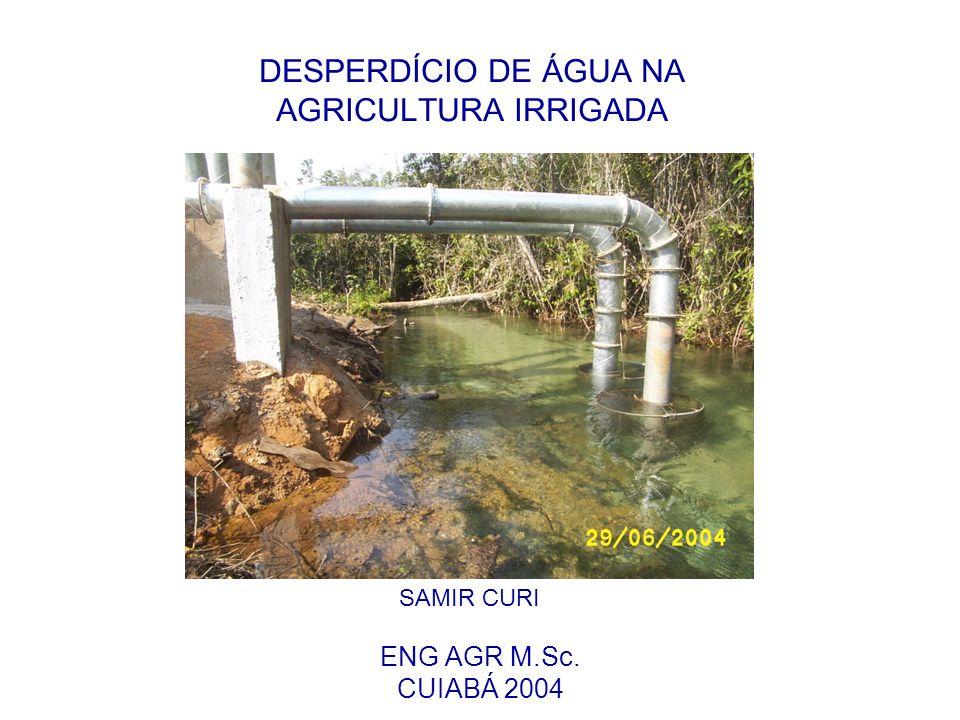 DESPERDÍCIO DE ÁGUA NA AGRICULTURA IRRIGADA ENG AGR M.Sc. CUIABÁ 2004 SAMIR CURI