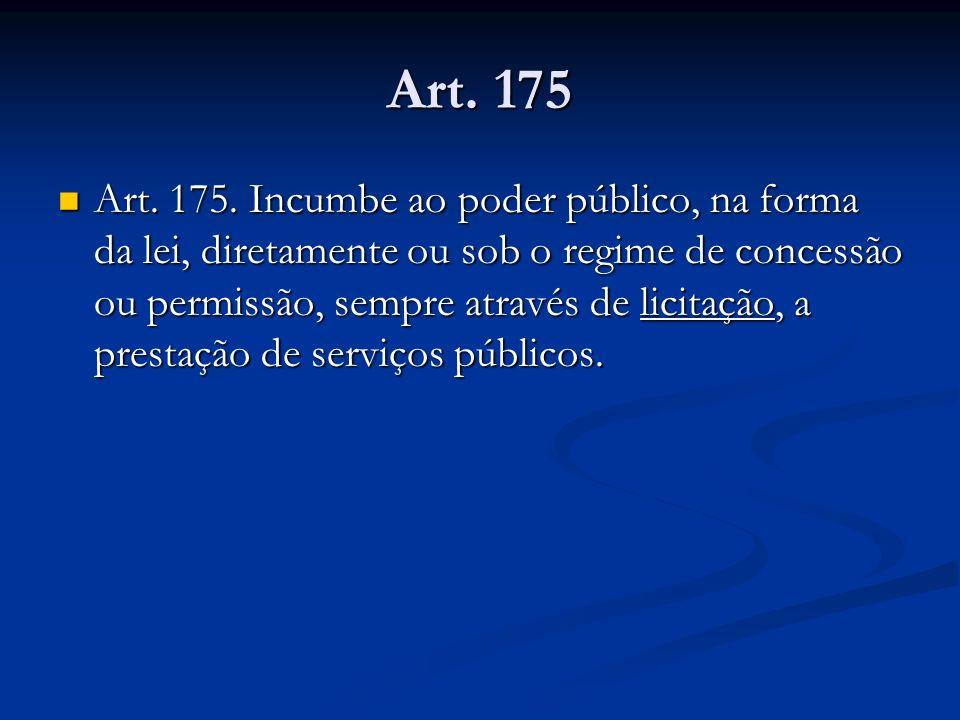 Art. 175 Art. 175. Incumbe ao poder público, na forma da lei, diretamente ou sob o regime de concessão ou permissão, sempre através de licitação, a pr
