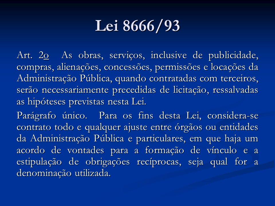 Lei 8666/93 Art. 2o As obras, serviços, inclusive de publicidade, compras, alienações, concessões, permissões e locações da Administração Pública, qua