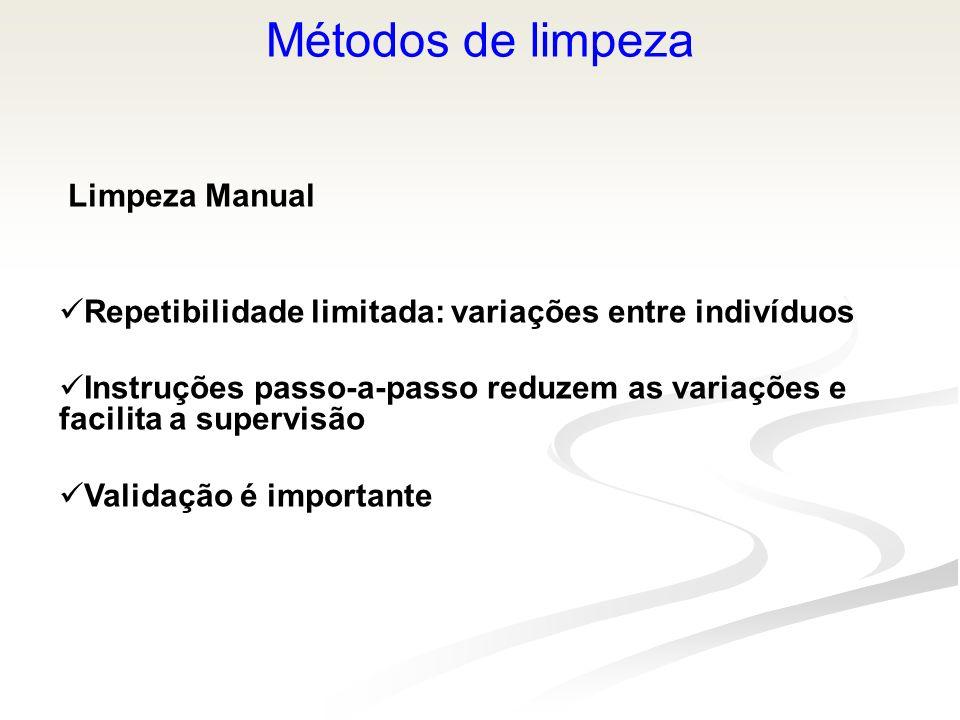 Métodos de limpeza Limpeza Manual Repetibilidade limitada: variações entre indivíduos Instruções passo-a-passo reduzem as variações e facilita a super